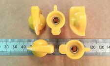Qty 5: Moderate Quality Yellow Chicken Head Knobs, 6.3mm Shaft, Flat Grub Screw