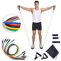 Resistance Bands Heavy Workout Exercise Yoga Crossfit Fitness Tubes 11 Piece Set