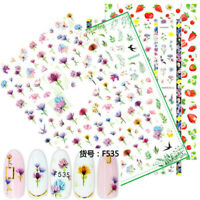 3D Nail Stickers Flower Animal Fruit Self-adhesive Nail Art Transfer Decals Tips