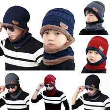 Winter 2pcs hat Hat Scarf Warm Knit Thick wool Lined Cap Scarf For Men Women