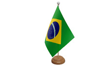 Brazil Small Table Flag with Wooden Stand