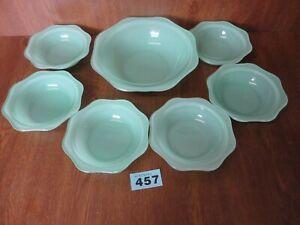 Vintage Pyrex Jadeite / Jade Green - 6 Dessert Bowls & Serving Dish Set