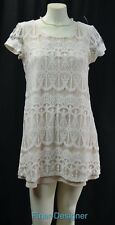 Socialite TEA LACE DRESS IVORY LACEY chic Peasant shabby mini short slv SZ M NEW
