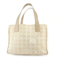 CHANEL tote bag New Travel line beige nylon jacquard �~ leather Auth used T17975