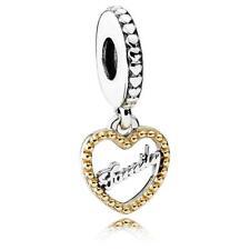 Original Pandora Amuleto Geliebte Familia Sterlingsiilber Oro Colgante Corazón