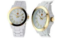 NEW Louis Richard 9106 Women's Kensing Sunray Dial Gold Accents White Watch