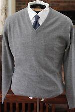 REBEL & A Lona Scott Staple Steel Mid Gray Cashmere V Neck Sweater Jumper 38