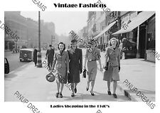 Vintage Fashion of the 1940's Ladies Shopping Poster Print