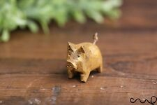 Hand Crafted Little Wooden Golden Pig Animal Crafts Home Decor Farm Pigs Brown