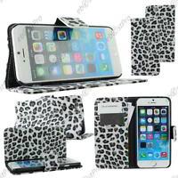 "Housse Coque Etui Portefeuille Livre PU Cuir Leopard Noir Apple iPhone 6 4,7"""