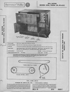 1950 RCA VICTOR A106 PHONO RADIO SERVICE MANUAL photofact 9W106 RC-622 SCHEMATIC