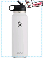Hydro Flask Wide Mouth 2.0 Water Bottle, Straw Lid , 32oz-White