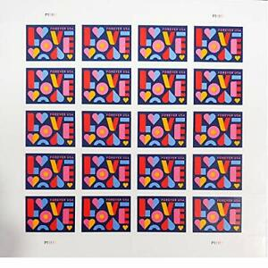 Love 2021 Forever Postage Stamps Sheet of 20 US Postal First Class Valentine ...