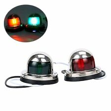 LED Pair of Stainless Red and Green Bow Navigation Lights for Boats 1 Mile--AM
