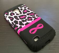Samsung Galaxy S4 Mini i9190 -HARD&SOFT RUBBER HYBRID CASE PINK LEOPARD INFINITY