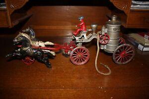 Antique Cast Iron Toy LARGE HORSE DRAWN HUBLEY FIRE ENGINE PUMPER No Reserve