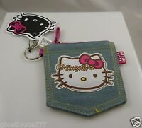 Hello Kitty change purse key ring keychain denim canvas PInk and multicolor jean
