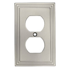 Satin Nickel Single Duplex Wall Plate Plug Electric Outlet Cover 25026-SN