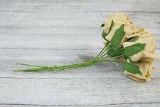 1 Bunch Colourfast Foam Rose Bouquet Wedding Artificial 6 Flowers 35 Colours 5cm Champagne