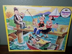 Vintage Jaymar 1960's Inlaid Tray Puzzle, Popeye, Bluto Olive Oyl, Fishing, Bomb
