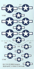 US-114 - wwii avion américain insignia - 1/144-1/100 decals