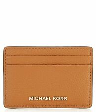 MICHAEL KORS JET SET CARD CASE LEATHER WALLET ACORN BROWN# 32F7GF6D0L-NWT