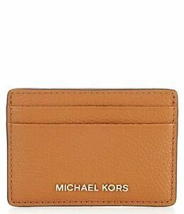 MICHAEL KORS JET SET CARD CASE LEATHER WALLET ACORN BROWN# 32F7GF6D0L-NWT