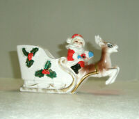 Vintage Santa Planter or Candy Dish Reindeer Holly Japan