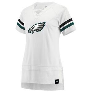 Philadelphia Eagles Fanatics Branded Women's Lace Up T-Shirt -White/Green