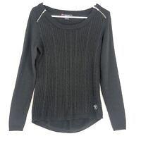 Ariat Merino Wool Cable Knit Sweater Womens M Black Zipper Shoulder Long Sleeves