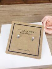 nice cute 925 sterling silver skull stud earrings unisex gift