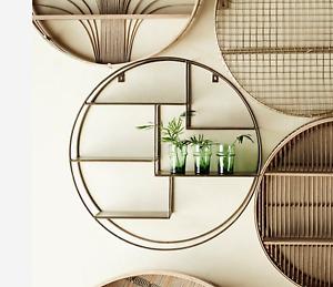 Round Circle Circular Gold Brass Shelf, Compartmental Shelving Display Unit