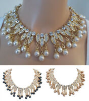 RAREST HUNDREDS OF RHINESTONES  RUNWAY PEARL DROP NECKLACE