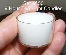 Tea Light Candles - White unscented - Clear Acrylic cup - 9 hour Bulk x 50 CA16