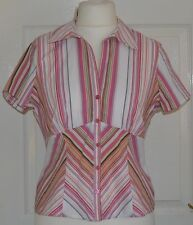 Collared Cap Sleeve Casual Striped Tops & Shirts for Women