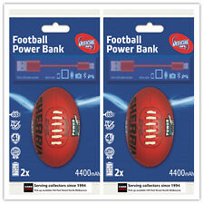 AFL Sherrin Rechargeable Phone Charger Adelaide X2 Dual USB 4400 mAh Gift Idea