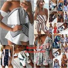 Womens Beach Holiday Floral Swing Flared Dress Crop Top Shorts Playsuit Jumpsuit