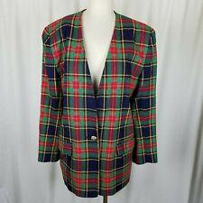 Chaus Tartan Scotch Plaid Wool Collarless Blazer Jacket Womens L XL Vintage