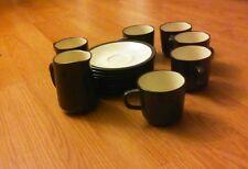 Mikasa TerraStone Vanilla 6 Coffee Cups 8 Saucers & Creamer Dk Brown E1955 Japan
