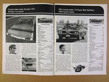 1970 Dodge Challenger R/T Charger RT Daytona Swinger 340 & Super Bee vintage Ad
