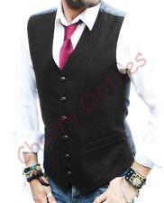 Mens Waistcoat Wool Blend Tweed Waistcoats Vest Gilet - All Sizes