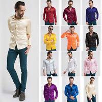 New Mens Casual Formal Shirts Slim Fit Silk Shirt Long Sleeve Top S M L XL XXL