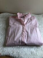 Vintage Jumpers Pink  FRILL RUFFLE SHIRT BLOUSE TOP Large 14/16  COTTON racing