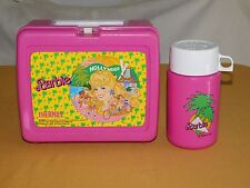 VINTAGE 1988 PLASTIC BARBIE HOLLYWOOD LUNCH BOX WITH THERMOS