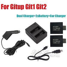 2x Baterías+Dual Batería Cargador de coche para GITup git1 git2 DEPORTE
