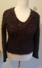 Oui Moments Ladies Wool Jumper. Size M. Brown With Sparkly Gold Fleck. VGC
