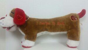 "Dan Dee Love Puppy Heart Wiener Dog Brown White Red Jumbo Plush 36"" Love Gesture"