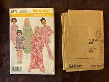 GIRLS CHILDS UNCUT SIMPLICITY 1571 SEWING PATTERN PAJAMAS ROBE GOWN SIZE 3-6