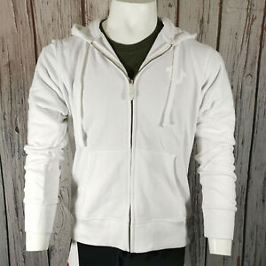 True Religion Zip Hoodie in White Classic Fit Cotton Tracksuit Jacket Med - 3XL