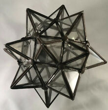 Vtg Rare Glass Moroccan 3D STAR tea Candle holder light Indoor outdoor Holiday